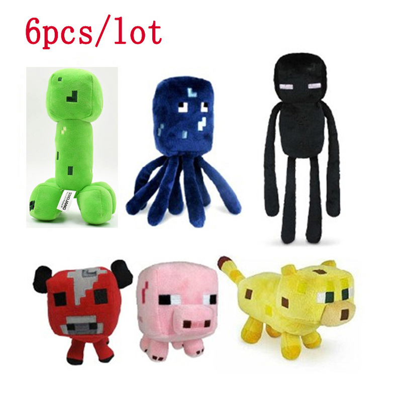 6 adet Minecraft Creeper Peluş Oyuncaklar Set Minecraft Enderman Creeper JJ Ocelot Koyun için Mooshroom Domuz Peluş Doldurulmuş Oyuncaklar Bebek çocuklar