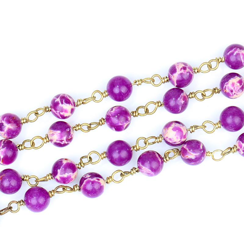 BOROSA 6mm HandmadePurple Round Sea Sediment Beads With Brass Wire Wrapped Rosary Chain-Making Jewelry-Stone Bead Chain Necklace