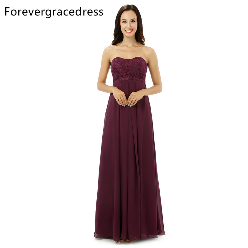 Forevergracedress Real Photos Burgundy Color Bridesmaid Dress Simple A Line Chiffon Lace Long Wedding Party Dress Plus Size
