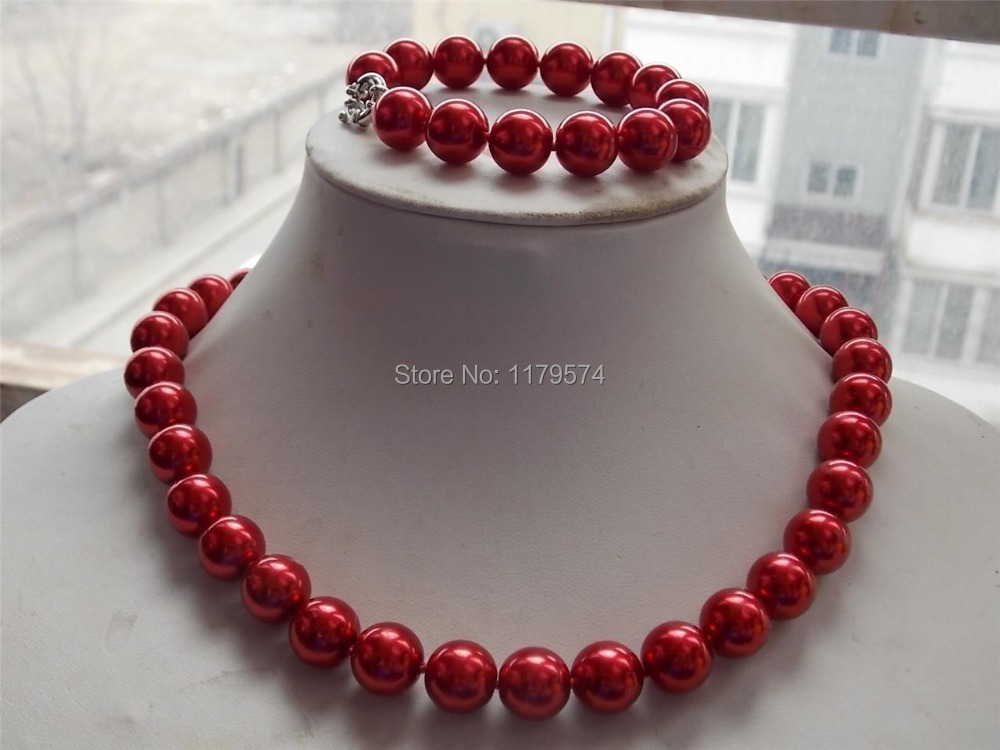 12mm Lovely Rose South Shell free Sea Pearl Necklace Bracelet 18&39;&39;7.5&39;&39;AAA W0262