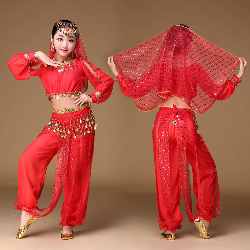Children Girls Belly Dance Costumes 6PCS=Top+Pant+Belt+Veil+1Pair Bracelets Stage Dancing Bellydance Wear Dress Fashion
