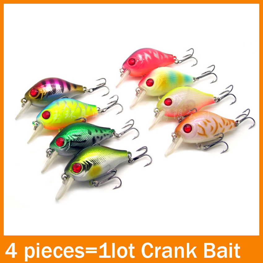 Free Shipping 4 pieces/lot 60mm 8g Crank Popper Fishing Lures Minnow Crankbait Crank Bait Bass Tackle Treble Hook Fishing tackle